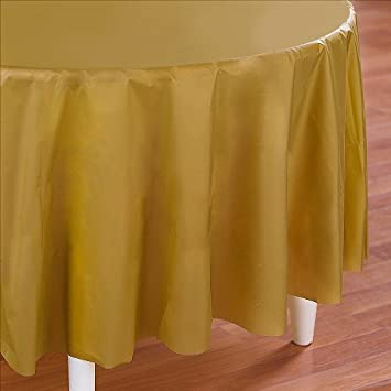 Amazon Com Pack Of 6 Round 84 Inch Gold Plastic Table Cover