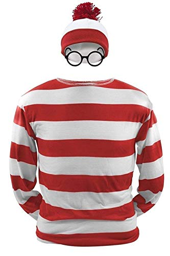 Boomtrader Men's Waldo Red and White Striped Shirt Women's Wally Halloween Cosplay Costume Set (Medium, ()