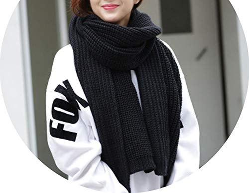 Price comparison product image Autumn winter Korean fringed wild scarf knitted wool warm thick wool scarf, black, onesize