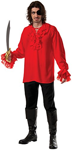 Rubie's Costume Co Men's Ruffled Cotton Pirate Shirt, Red, X-Large (Colonial Pirate Costume)