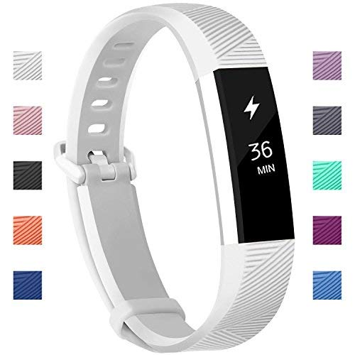 Fundro Compatible for Fitbit Alta HR Bands, Newest Sport Replacement Wristbands with Secure Metal Buckle for Fitbit Alta HR/Fitbit Alta (C# 1-Pack White, Small (6.2-7.1))
