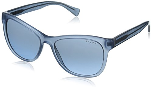Ralph by Ralph Lauren Women's 0RA5196 Round Sunglasses, Denim Blue,Denim Blue,Bandana Grey,Blue & Gradient Denim Blue Bandana, 54 - Blue Glasses Ralph Lauren