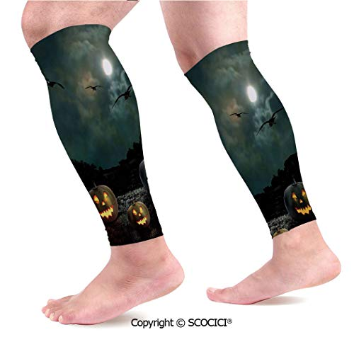 Flexible Breathable Comfortable Leg Skin Protector Sleeve Yard of an Old House at Night Majestic Moon Sky Creepy Dark Evil Face Pumpkins Decorative Calf Compression -