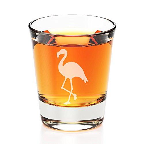 Flamingo Engraved Fluted Shot Glass