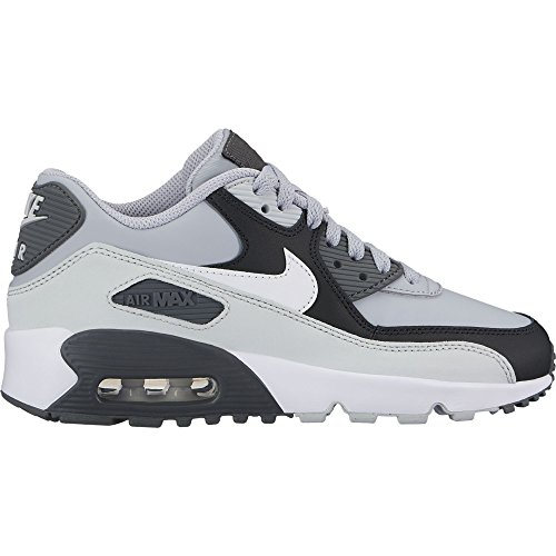 Nike Kid's Air Max 90 Leather Running Shoes, Black/Gym Red/White, 4.5 M US Big Kid