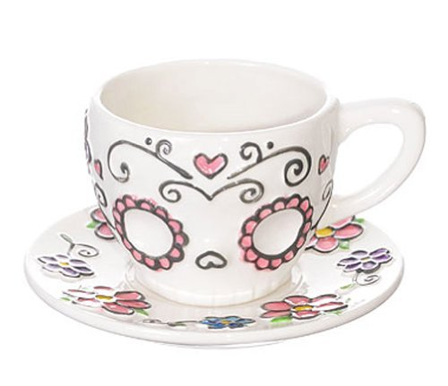 Ceramic Sugar Skull Teacup and Saucer Set in Gift Box (Muertos De Dinnerware Dia Los)