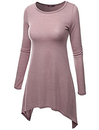 Doublju Crewneck Cotton Knit Asymmetrical Tunic Top INDIPINK X-LARGE