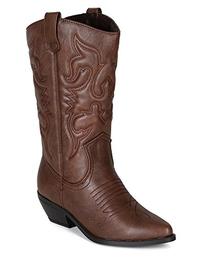 Soda BE52 Leatherette Women Embroidered Pointy Toe Cowboy Boot - Tan (Size: 5.5)