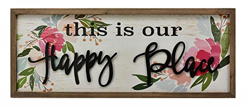 (Parisloft This is Our Happy Place Wood Framed Sign Floral Background 3D Metal Quote Large Wood Wall Decor 31.5 x 1 x 11.8 Inches (This is Our Happy Place))
