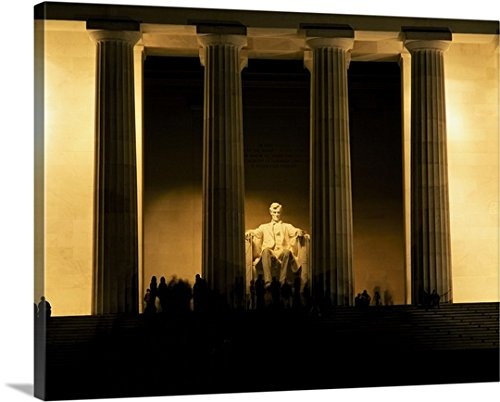 Premium Outdoor Canvas Wall Art Print entitled Lincoln Memorial illuminated at night, Washington DC - Illuminated Lincoln Memorial