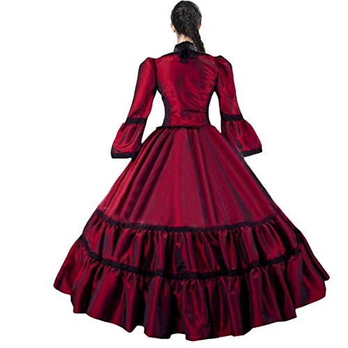 Partiss Womens Red Taffeta Simple Victorian Ball Gowns,XXL,Red - Ball Gown Costumes Cheap