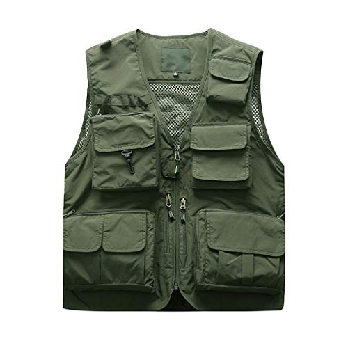 - iHPH7 Vest Men Mesh Outdoor Work Fishing Men Photography Outdoors Mesh Multi-Pocket Sleeveless Jackets Vest Waistcoat Tank Tops XL Army Green
