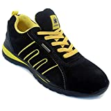 Mens Safety Trainers Shoes Boots Work Steel Toe Cap Hiker Ankle Black Yellow (8 UK)