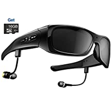 MEGAVIEW Wearable Camera DVR Sunglasses HD 720P Video Recorder Glasses for Android Smartphone TR90 Glasses Frame with Polarized UV400 Lense