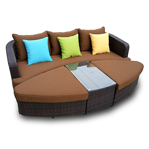 Naples Deep Seating 4 piece Modular Sofa Set in Black Wicker with Brown Cushions