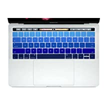 HRH New Retina 15 Keyboard Skin Silicone Cover for New MacBook Pro 13 15 Retina Display with Touch Bar A1706 A1707(2016 Oct. Release)USA Layout-Gradient Blue