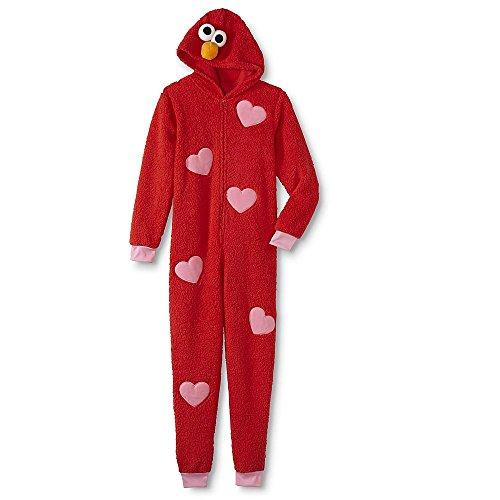 Sesame Street Adult Womens Onesie Pajama Characters Union Suit (Elmo, XL)