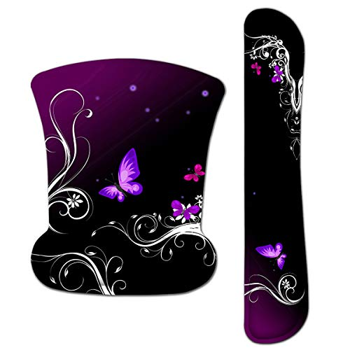 HAPLIVES Ergonomic Keyboard Wrist Rest Pad and Mouse Pad Wrist Support Set with Non-Slip Backing Memory Form-Filled, Easy-Typing and Pain Relief for Gaming Office Computer Laptop (Purple Butterfly)