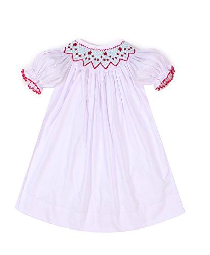 White Smocked Bishop Dress - Babeeni Baby Girls Smocked Bishop Dress with Floral Pattern (6M)