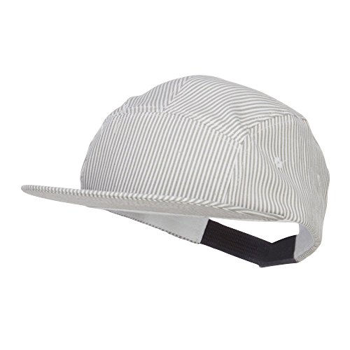 Jeanne Simmons Men's Striped 5 Panel Flat Bill Cap - Grey OSFM ()