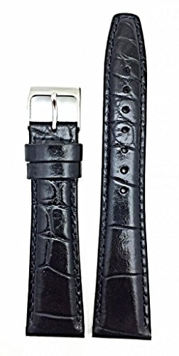 22mm Black Genuine Leather Watch Band | Alligator Crocodile Grain, Lightly Padded Replacement Wrist Strap That Brings New Life to Any Watch (Mens Length)