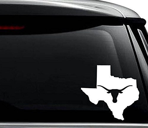 Texas State Longhorn Map Decal Sticker For Use On Laptop, Helmet, Car, Truck, Motorcycle, Windows, Bumper, Wall, and Decor Size- [6 inch] / [15 cm] Wide / Color- Matte White ()