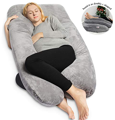 QUEEN ROSE Pregnancy Pillow -Maternity Body Pillow U Shaped,Support Back/Neck/Head with Velvet Cover, Gray