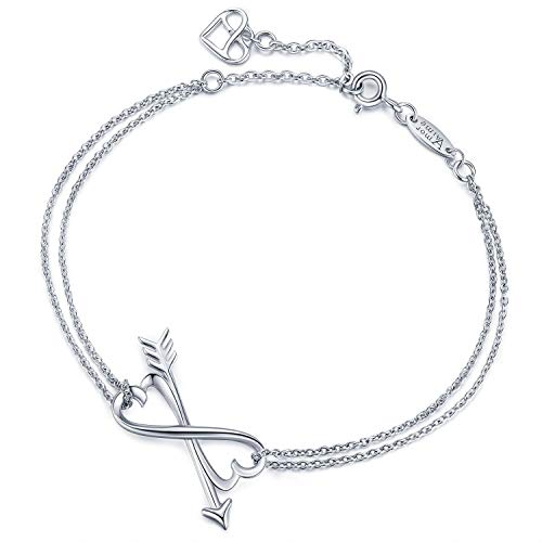 AmorAime Infinity Love Arrow Bracelet-925 Sterling Silver Heart to Heart Bracelet White Gold with Double Chains Adjustable Infinity Charm Bracelet Jewelry Gifts for Women Girls ()