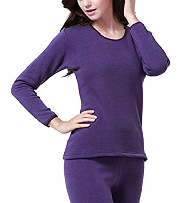 YVWTUC Hot Solid Color Thermal Underwear Set for Women Thick Cozy Soft Long Johns 2Pc for Outdoor and Indoor