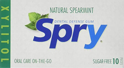 (Spry Fresh Natural Spearmint Gum, Natural Xylitol Chewing Gum Dental Defense System Aspartame-Free & Sugar Free Gum, 10 Piece Blister Cards (20)