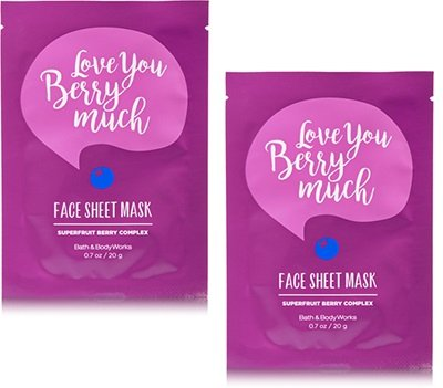 Bath and Body Works 2 Pack Face Sheet Mask with Supercharged Ingredients. Love you berry much 0.7 Oz by Bath & Body Works