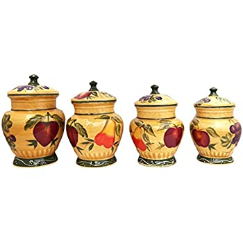 tuscan style kitchen canister sets amazon com european style tuscan fruit grape kitchen 4 pc canister set kitchen storage and 4074