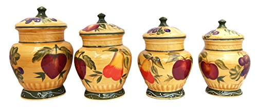 (European Style Tuscan Fruit Grape Kitchen 4 Pc Canister Set)