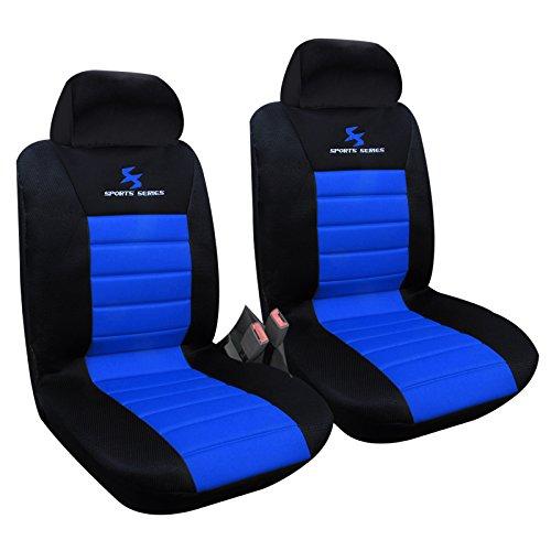 2 x Vordere Autositzbezug Sitzbezüge Schonbezüge Werkstattschoner, Komplettset , Sitzschoner Set , universal Sitzauflager , Schwarz/Blau , AS7256-2