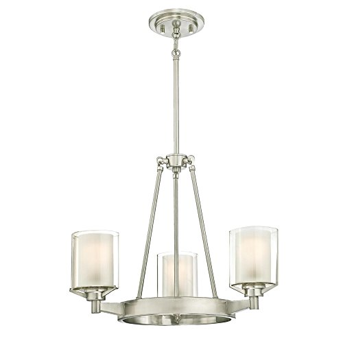 Westinghouse Lighting 6330800 Glenford Three-Light Indoor Chandelier, Brushed Nickel Finish with Frosted Inner and Clear Glass Outer Shades, 3