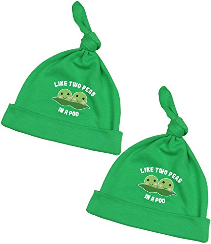 (BabyPrem Baby Twins 2 Hats Cotton Clothes Peas in Pod Boys Girls 0-6 Months Green)