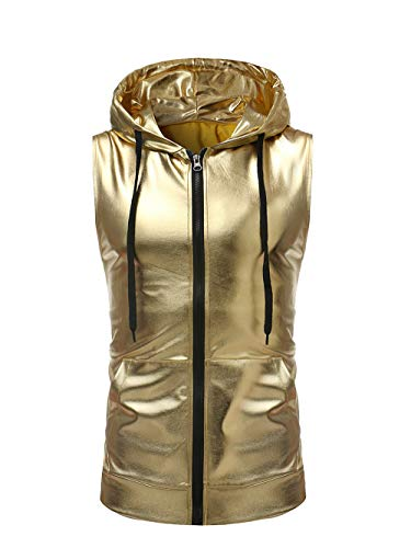 SAINDERMIRA Men's Metallic Satin Casual Zip-Front Sleeveless Hoodie Vest with Nightclub Style(Gold,L)