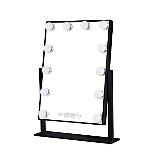 Orient Light LED Lighted Vanity Mirrors Classic Hollywood Look Tabletop Makeup Mirror with Touch Screen Buttons Dimmable Blubs Digital Clock Black Frame with Digital Time by Orient Light