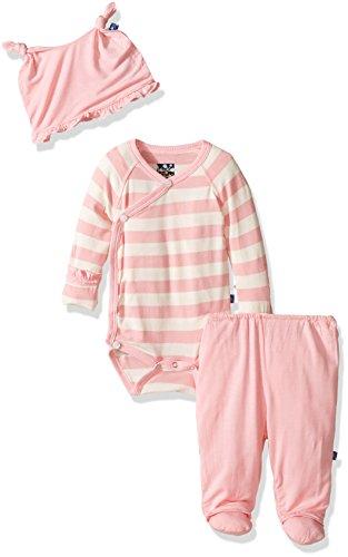 Kickee Pants Essentials Ruffle Kimono Set, Lotus Stripe, (Girl Kimono Set)