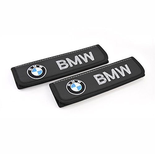Car Interior Seat Belt Covers for Adults Black Shoulder Pads Seatbelt Cover pad with Embroidered Emblem Accessories Compatible for BMW Great idea for a Gift to The Driver! 2 pcs