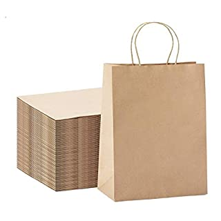 "GSSUSA 100Pcs 10"" x 5"" x 13"" Brown Kraft Paper Bags Gift Bags with Handles, Shopping Durable Reusable Merchandise Retail Bags"