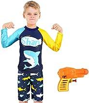 ZukoCert Boys Sunsuit Swimwear Sets Kids Long Sleeve 2 Piece Rash Guard Swimsuits 2-10 Years Surfing Swimsuits