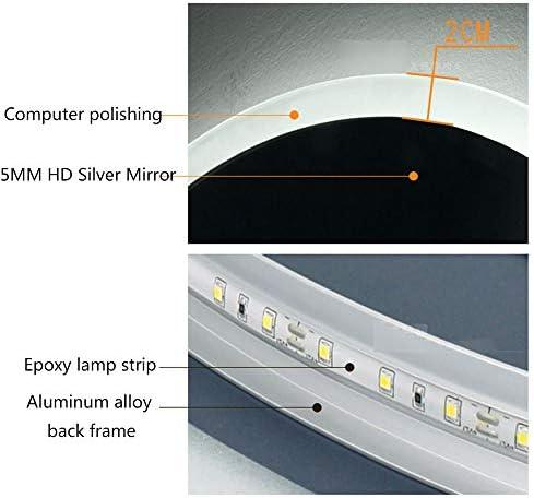 ZQ- Ronde muur gemonteerde spiegel badkamer LED-verlichting en anti-mist functie, met touch schakelaar natuurlijk wit licht ^_^