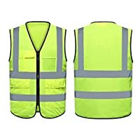 Reflective Vest,Lightweight,Adjustable & Elastic,Safety & High Visibility for Running,Jogging,Walking,Cycling,Fits over Outdoor Clothing(Pack of 12,Neon Yellow)
