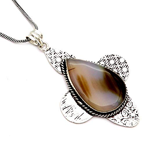 Price comparison product image GoyalCrafts Natural Botswana Agate Silver Plated Pendant Handmade Jewelry & Chain GPM32