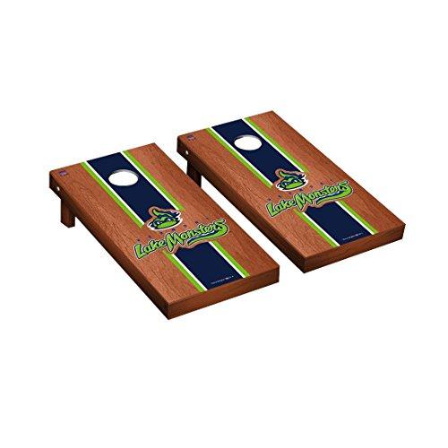 Victory Tailgate Vermont Lake Monsters MiLB Regulation Cornhole Game Set Rosewood Stripe Version