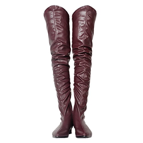 Sexy Zipper Burgundy Shoes Back Black EKS Flat Women's With High Pointed Toe slouchy Thigh Boots Owxq56vf