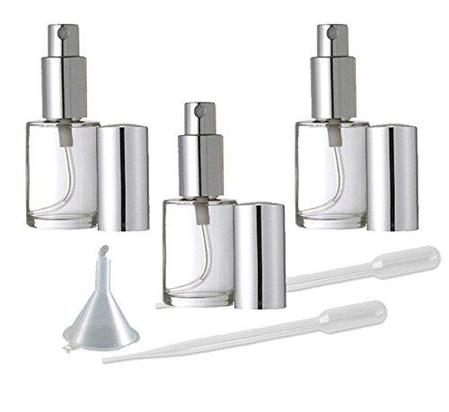 Perfume Fine Mist Atomizer, Round Glass Bottle, Grand Parfums Silver Fine Mist Sprayer 1/2 Oz -15ml (Set of 3) ()