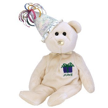 Birthday Bear Beanie - TY Beanie Baby - JUNE the Teddy Birthday Bear (w/ hat)