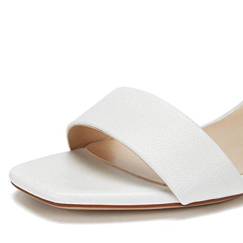 Elegante Pumper Knap Sommer Enkle Ny Sandaler Kvindelige Solid Hvide Mode Komfortable w6vqUxn1X4
